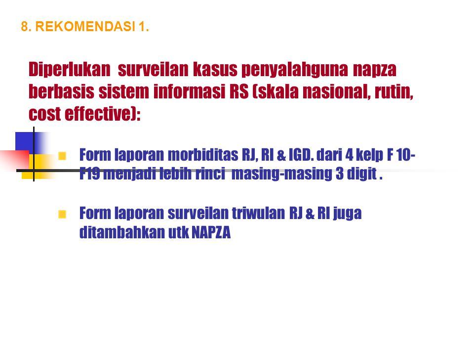 8. REKOMENDASI 1. Diperlukan surveilan kasus penyalahguna napza berbasis sistem informasi RS (skala nasional, rutin, cost effective):