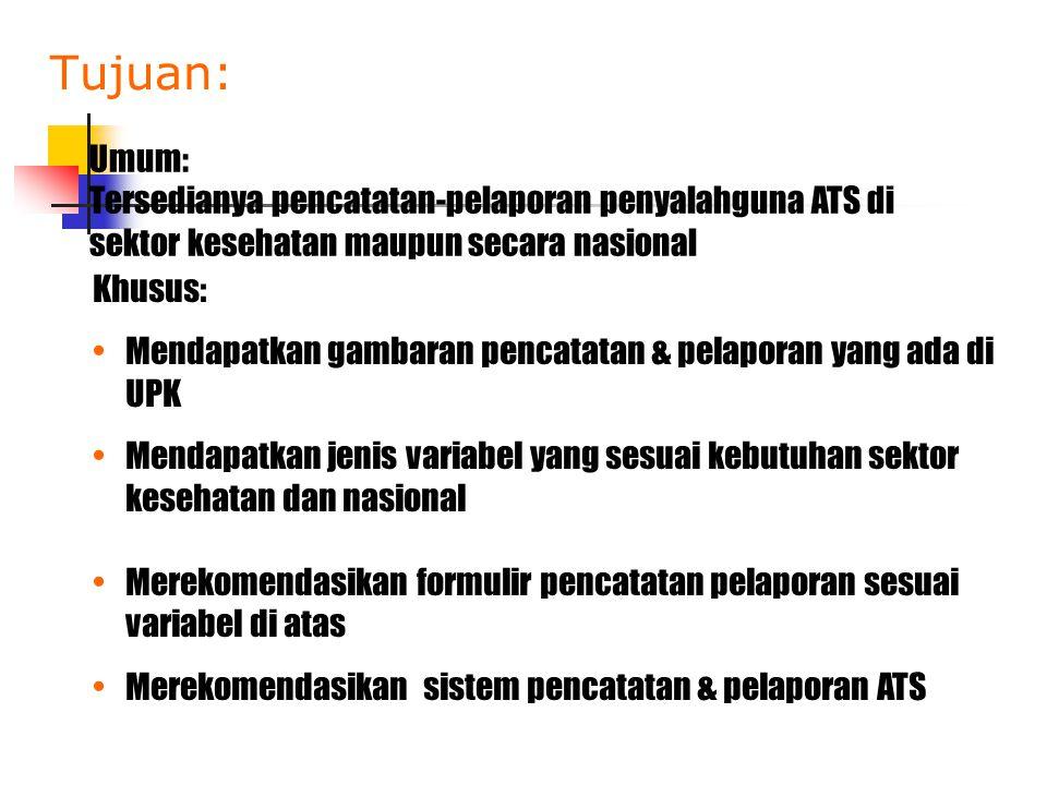 Tujuan: Umum: Tersedianya pencatatan-pelaporan penyalahguna ATS di sektor kesehatan maupun secara nasional.