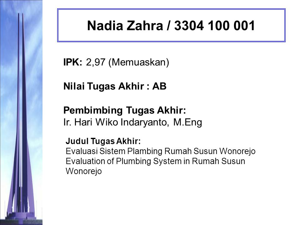 Nadia Zahra / 3304 100 001 IPK: 2,97 (Memuaskan) Nilai Tugas Akhir : AB Pembimbing Tugas Akhir: Ir. Hari Wiko Indaryanto, M.Eng.