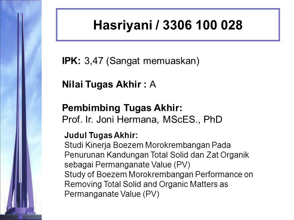 Hasriyani / 3306 100 028 IPK: 3,47 (Sangat memuaskan) Nilai Tugas Akhir : A Pembimbing Tugas Akhir: Prof. Ir. Joni Hermana, MScES., PhD.
