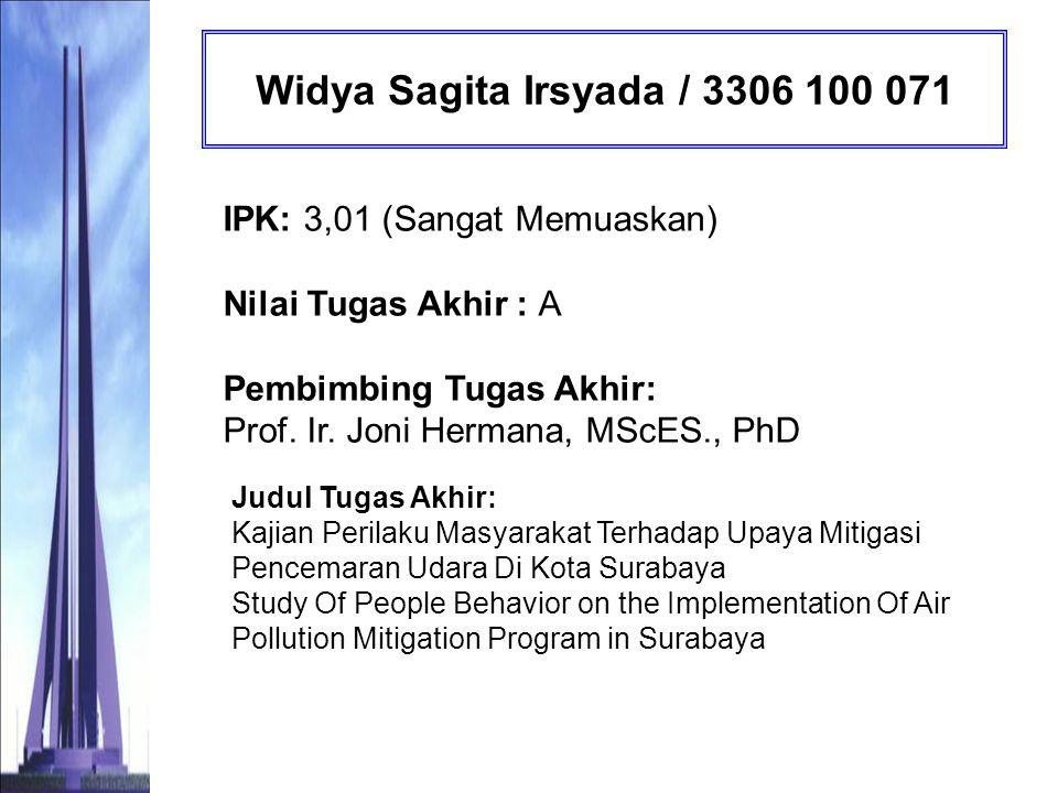 Widya Sagita Irsyada / 3306 100 071 IPK: 3,01 (Sangat Memuaskan) Nilai Tugas Akhir : A Pembimbing Tugas Akhir: Prof. Ir. Joni Hermana, MScES., PhD.