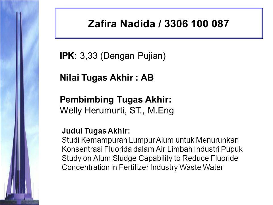 Zafira Nadida / 3306 100 087 IPK: 3,33 (Dengan Pujian) Nilai Tugas Akhir : AB Pembimbing Tugas Akhir: Welly Herumurti, ST., M.Eng.