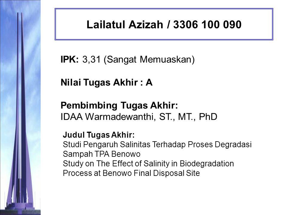 Lailatul Azizah / 3306 100 090 IPK: 3,31 (Sangat Memuaskan) Nilai Tugas Akhir : A Pembimbing Tugas Akhir: IDAA Warmadewanthi, ST., MT., PhD.