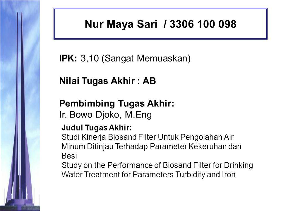 Nur Maya Sari / 3306 100 098 IPK: 3,10 (Sangat Memuaskan) Nilai Tugas Akhir : AB Pembimbing Tugas Akhir: Ir. Bowo Djoko, M.Eng.