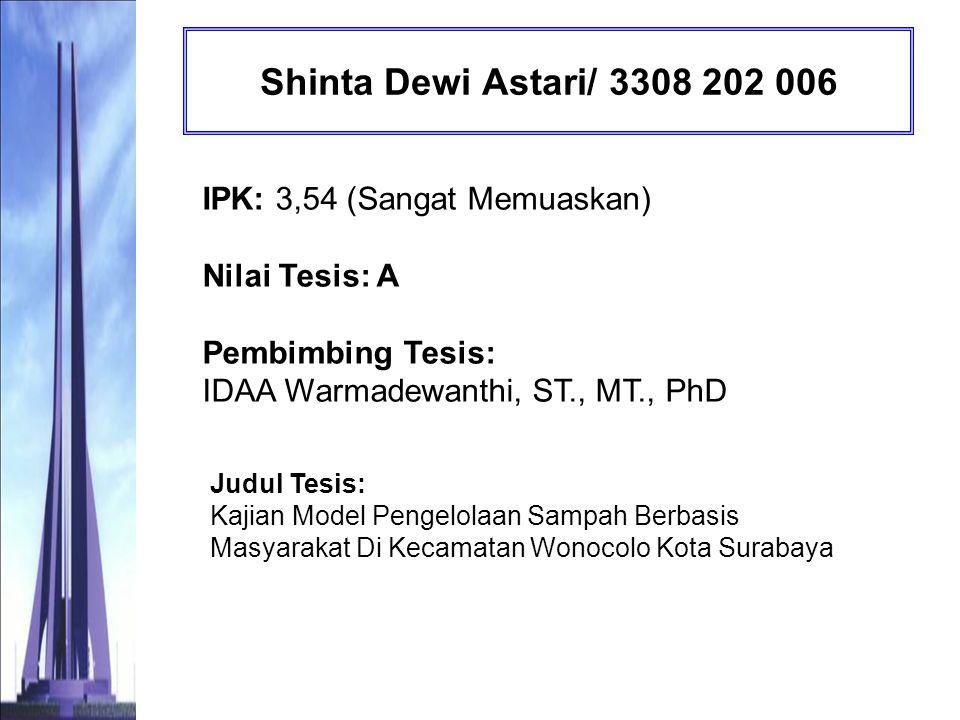 Shinta Dewi Astari/ 3308 202 006 IPK: 3,54 (Sangat Memuaskan) Nilai Tesis: A Pembimbing Tesis: IDAA Warmadewanthi, ST., MT., PhD.