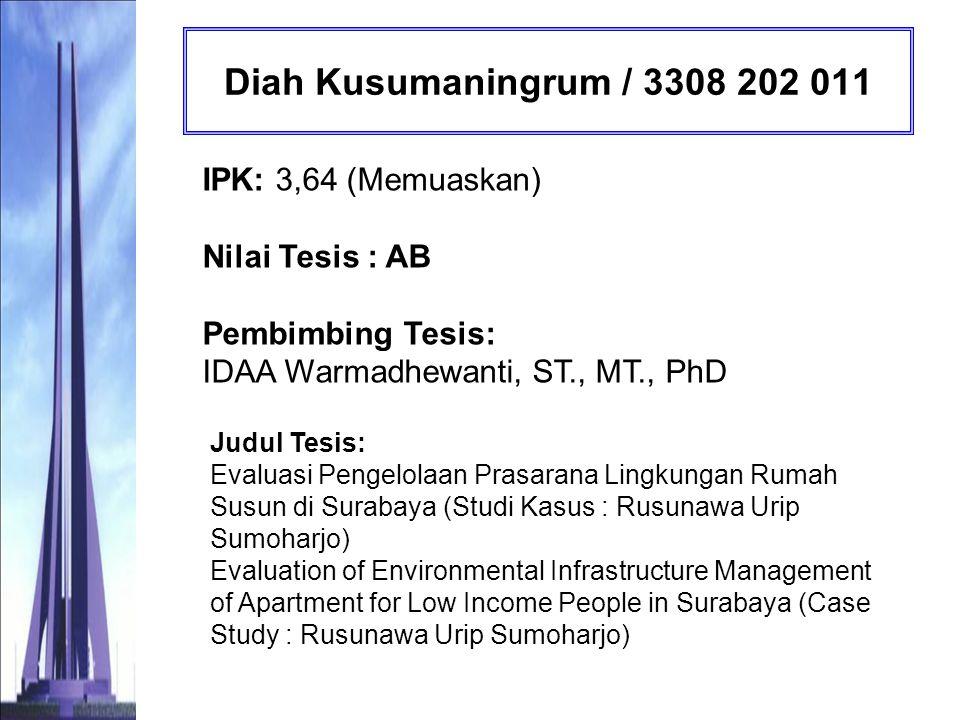 Diah Kusumaningrum / 3308 202 011 IPK: 3,64 (Memuaskan) Nilai Tesis : AB Pembimbing Tesis: IDAA Warmadhewanti, ST., MT., PhD.