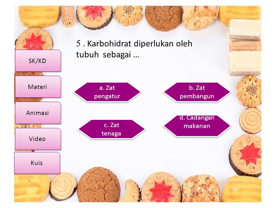 5 . Karbohidrat diperlukan oleh tubuh sebagai …