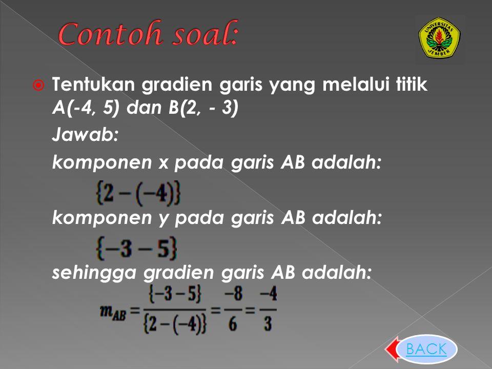 Contoh soal: Tentukan gradien garis yang melalui titik A(-4, 5) dan B(2, - 3) Jawab: komponen x pada garis AB adalah: