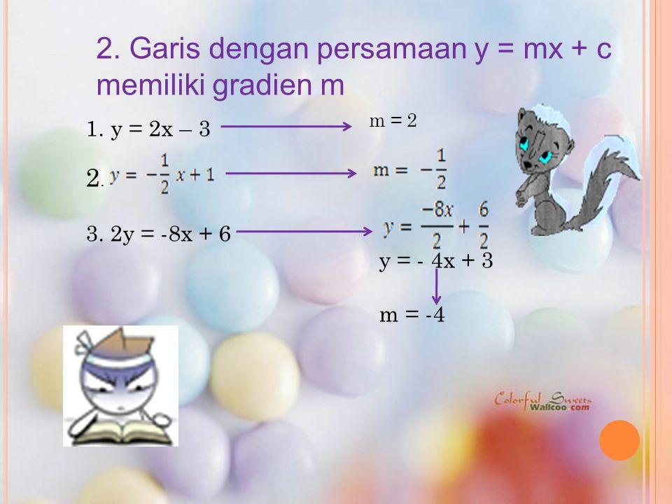 2. Garis dengan persamaan y = mx + c memiliki gradien m