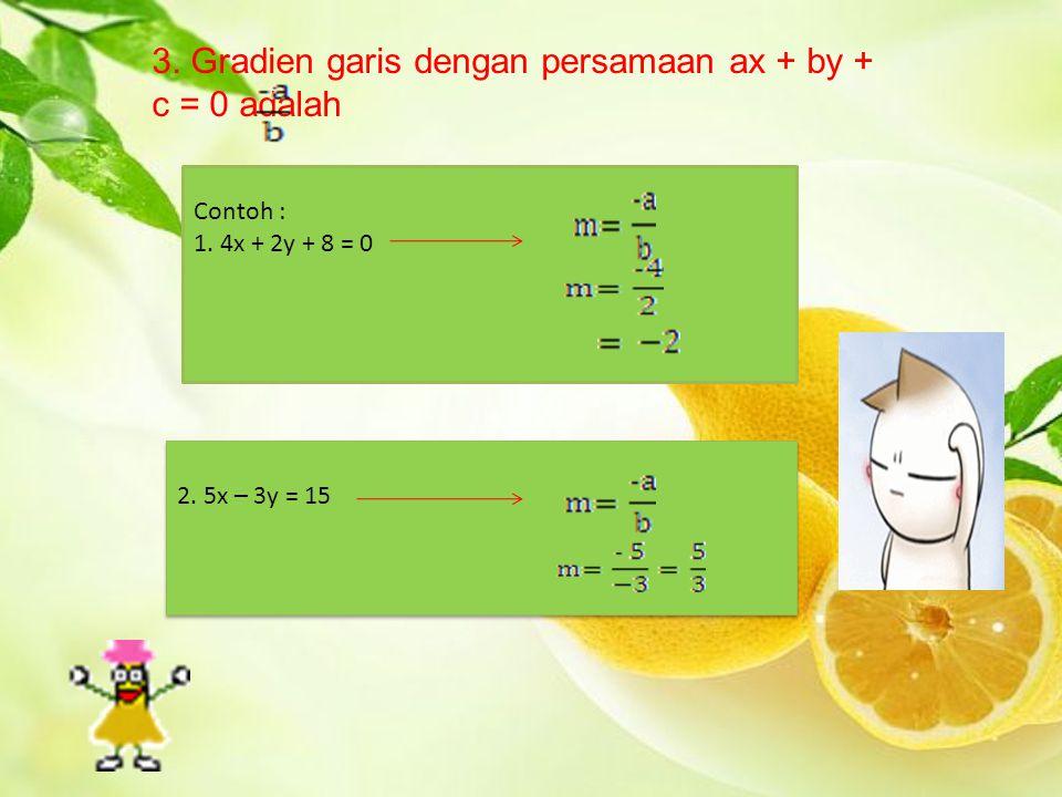 3. Gradien garis dengan persamaan ax + by + c = 0 adalah