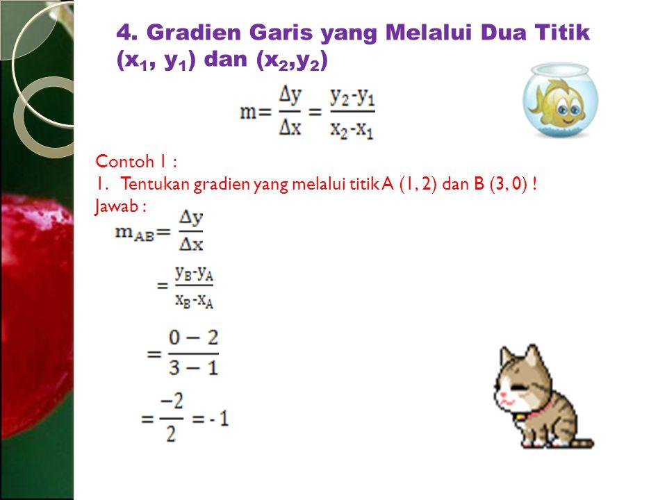 4. Gradien Garis yang Melalui Dua Titik (x1, y1) dan (x2,y2)