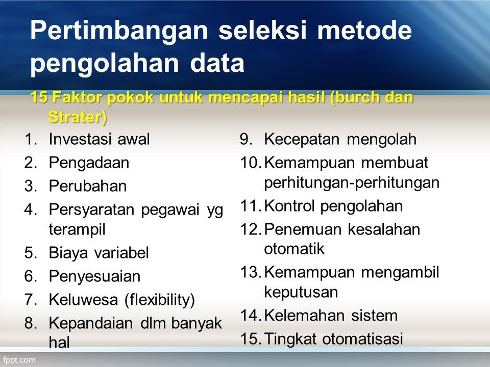 Pertimbangan seleksi metode pengolahan data