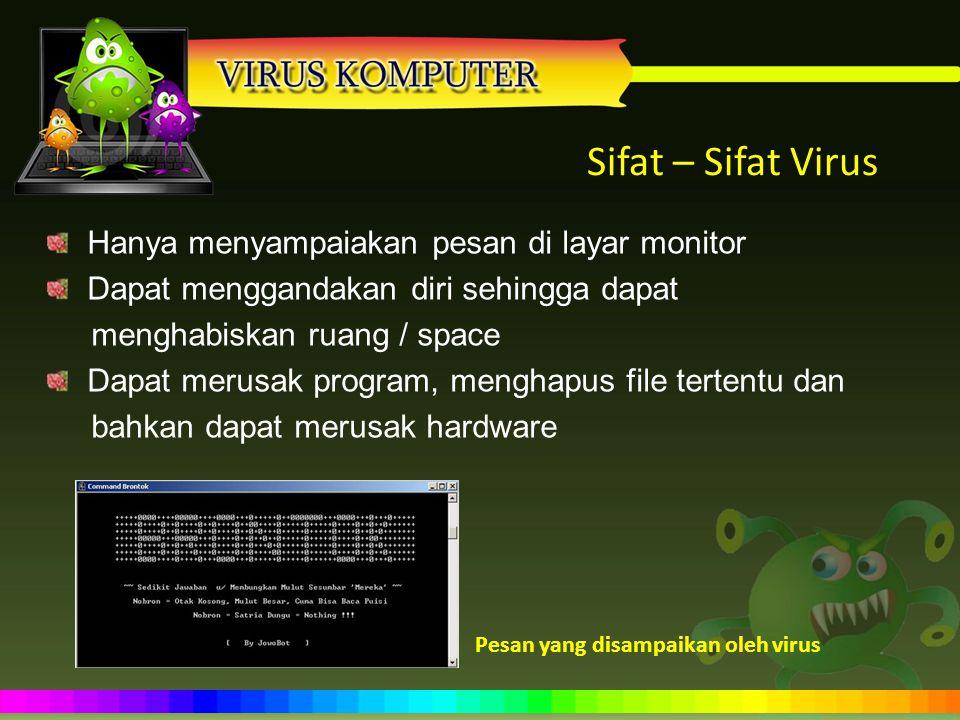 Sifat – Sifat Virus Hanya menyampaiakan pesan di layar monitor