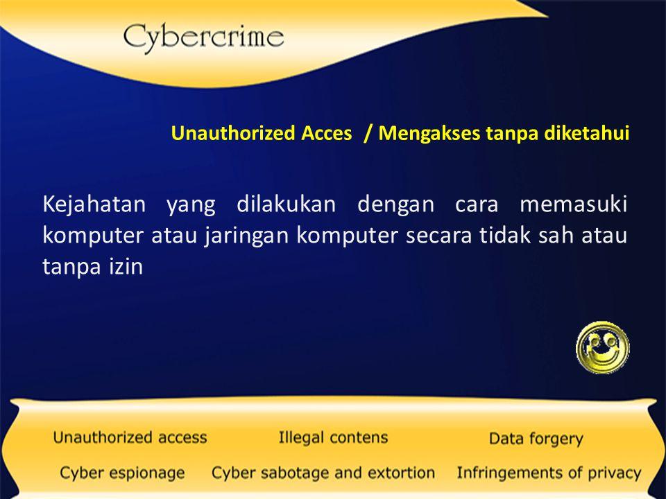 Unauthorized Acces / Mengakses tanpa diketahui