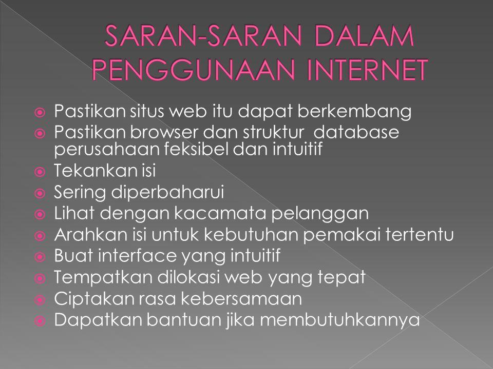 SARAN-SARAN DALAM PENGGUNAAN INTERNET