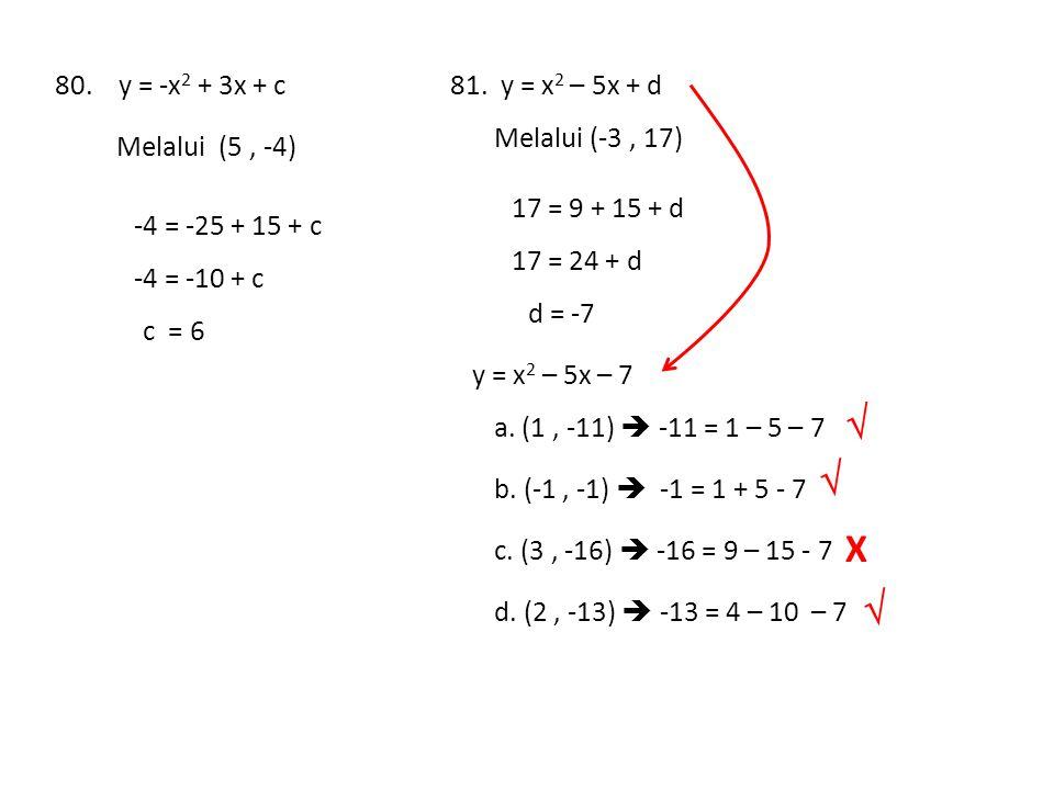   X  80. y = -x2 + 3x + c 81. y = x2 – 5x + d Melalui (-3 , 17)