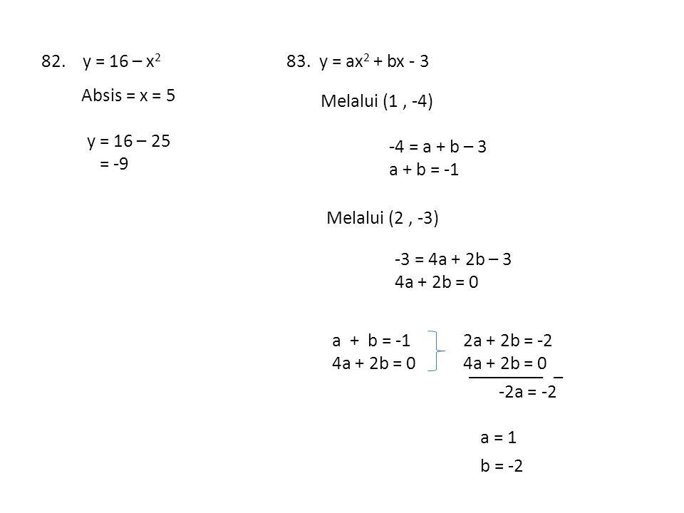 82. y = 16 – x2 83. y = ax2 + bx - 3. Absis = x = 5. Melalui (1 , -4) y = 16 – 25. = -9. -4 = a + b – 3.