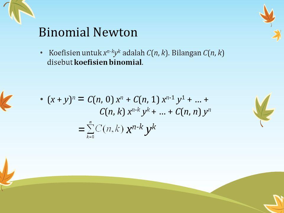 Binomial Newton Koefisien untuk xn-kyk adalah C(n, k). Bilangan C(n, k) disebut koefisien binomial.