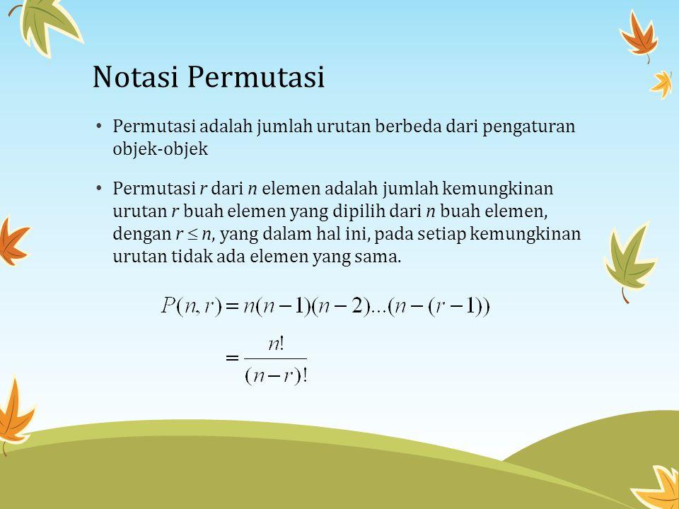 Notasi Permutasi Permutasi adalah jumlah urutan berbeda dari pengaturan objek-objek.