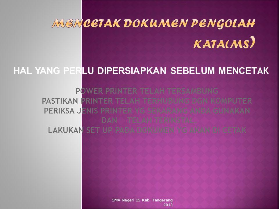 Mencetak dokumen pengolah kata(ms)