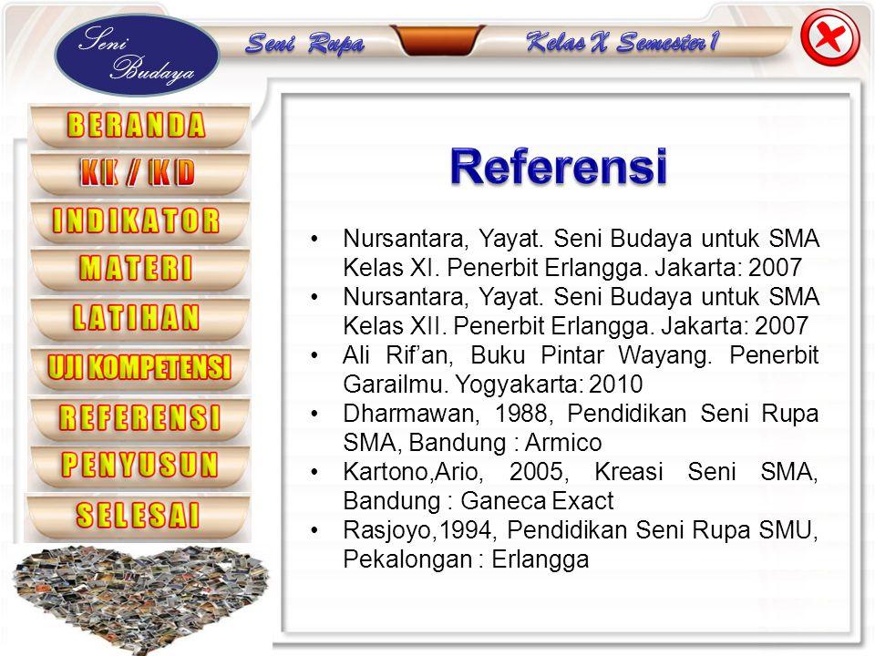 Referensi Nursantara, Yayat. Seni Budaya untuk SMA Kelas XI. Penerbit Erlangga. Jakarta: 2007.