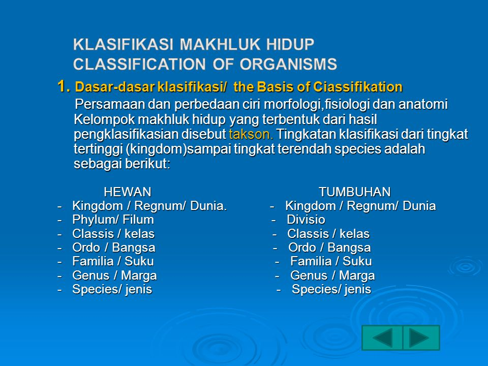 KLASIFIKASI MAKHLUK HIDUP CLASSIFICATION OF ORGANISMS
