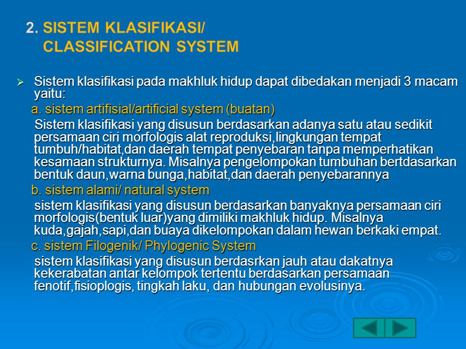 2. Sistem klasifikasi/ Classification System