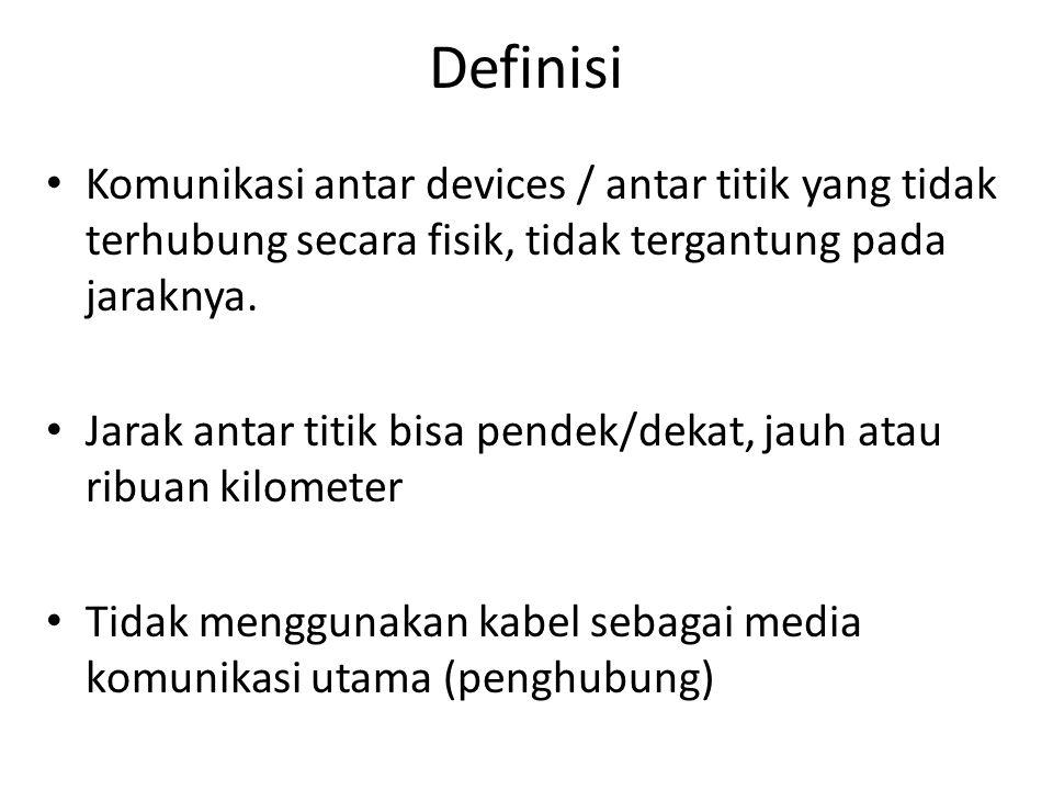 Definisi Komunikasi antar devices / antar titik yang tidak terhubung secara fisik, tidak tergantung pada jaraknya.