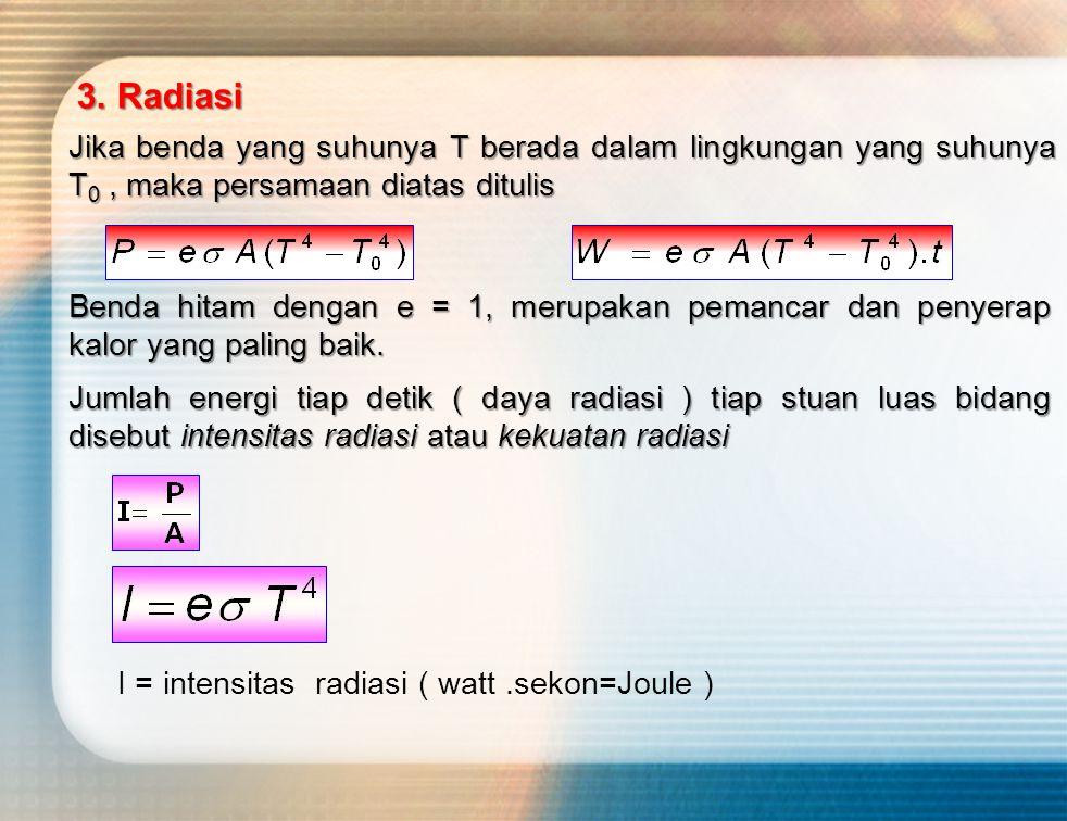 3. Radiasi Jika benda yang suhunya T berada dalam lingkungan yang suhunya T0 , maka persamaan diatas ditulis.