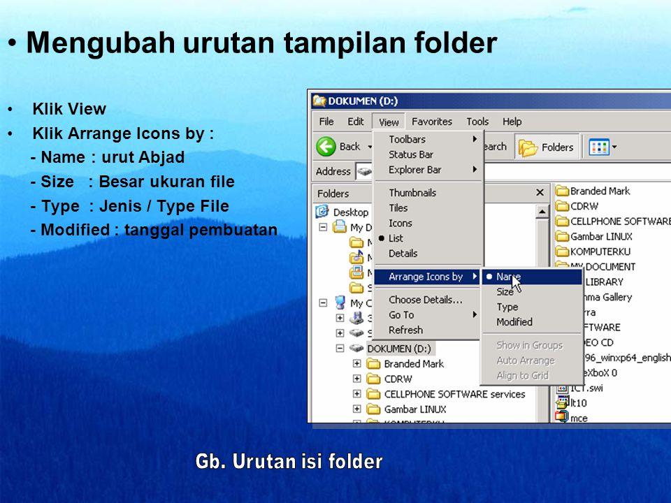 Mengubah urutan tampilan folder