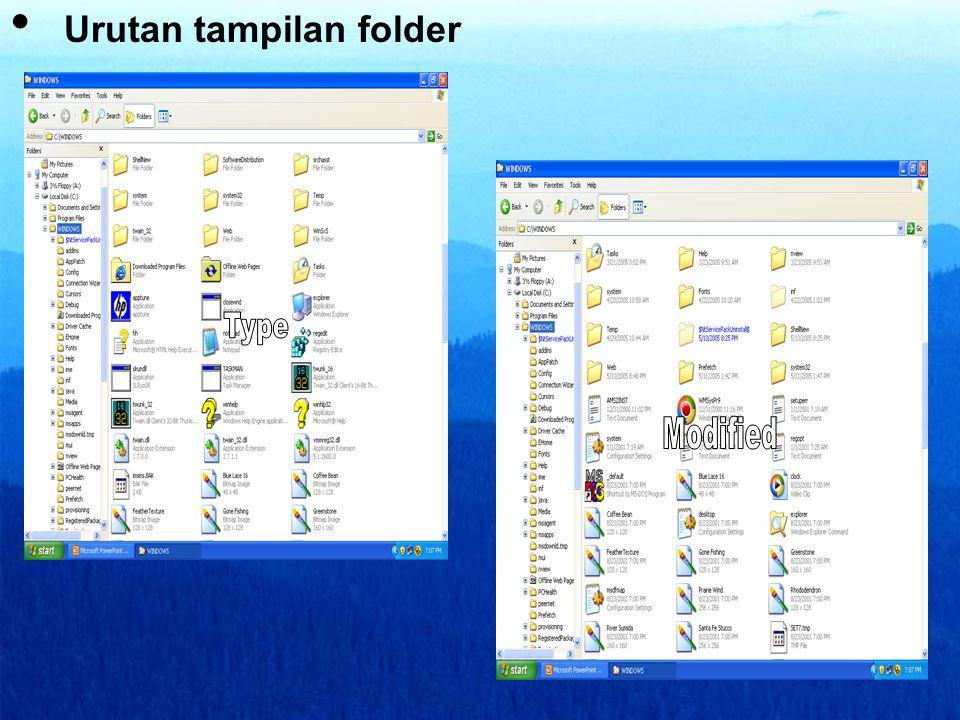 Urutan tampilan folder