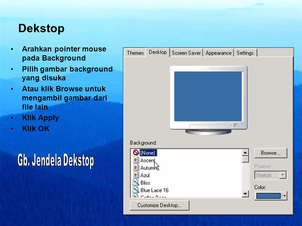 Dekstop Arahkan pointer mouse pada Background