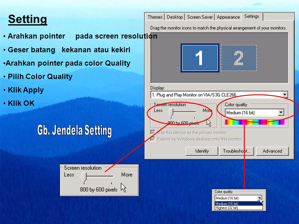 Setting Arahkan pointer pada screen resolution