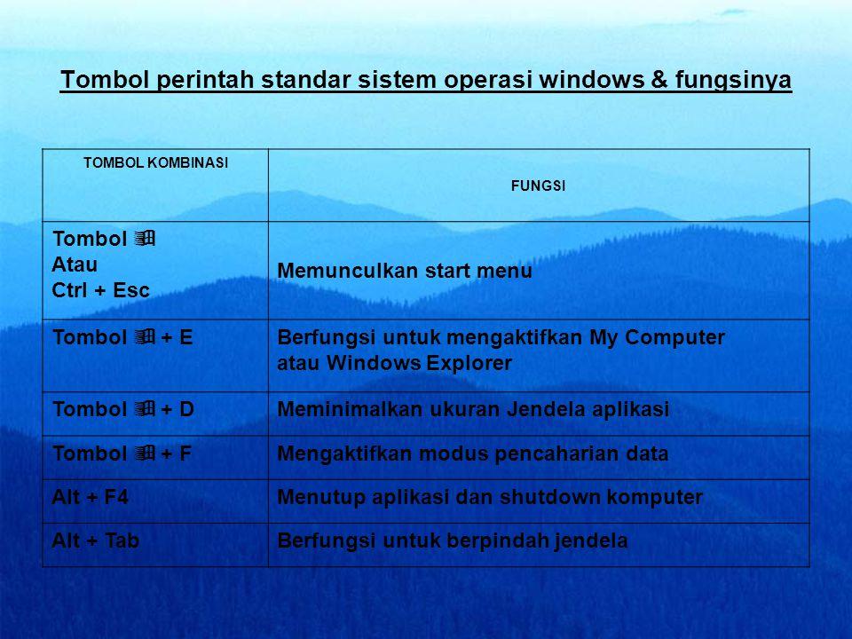 Tombol perintah standar sistem operasi windows & fungsinya