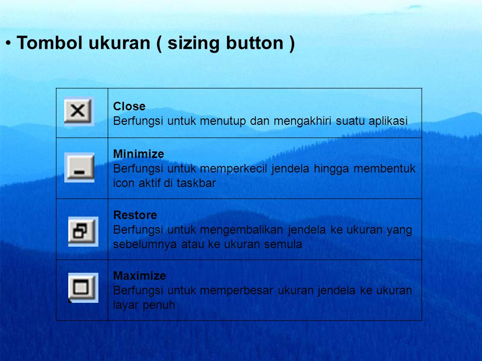 Tombol ukuran ( sizing button )