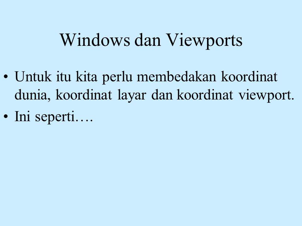 Windows dan Viewports Untuk itu kita perlu membedakan koordinat dunia, koordinat layar dan koordinat viewport.