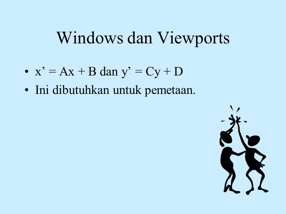Windows dan Viewports x' = Ax + B dan y' = Cy + D
