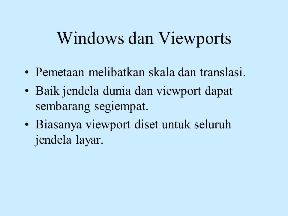 Windows dan Viewports Pemetaan melibatkan skala dan translasi.