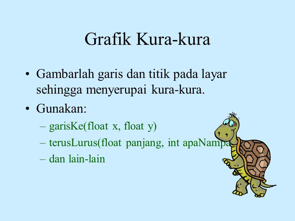 Grafik Kura-kura Gambarlah garis dan titik pada layar sehingga menyerupai kura-kura. Gunakan: garisKe(float x, float y)