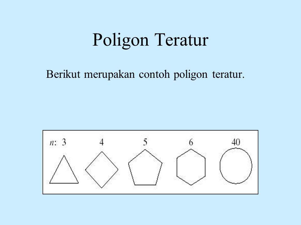 Berikut merupakan contoh poligon teratur.