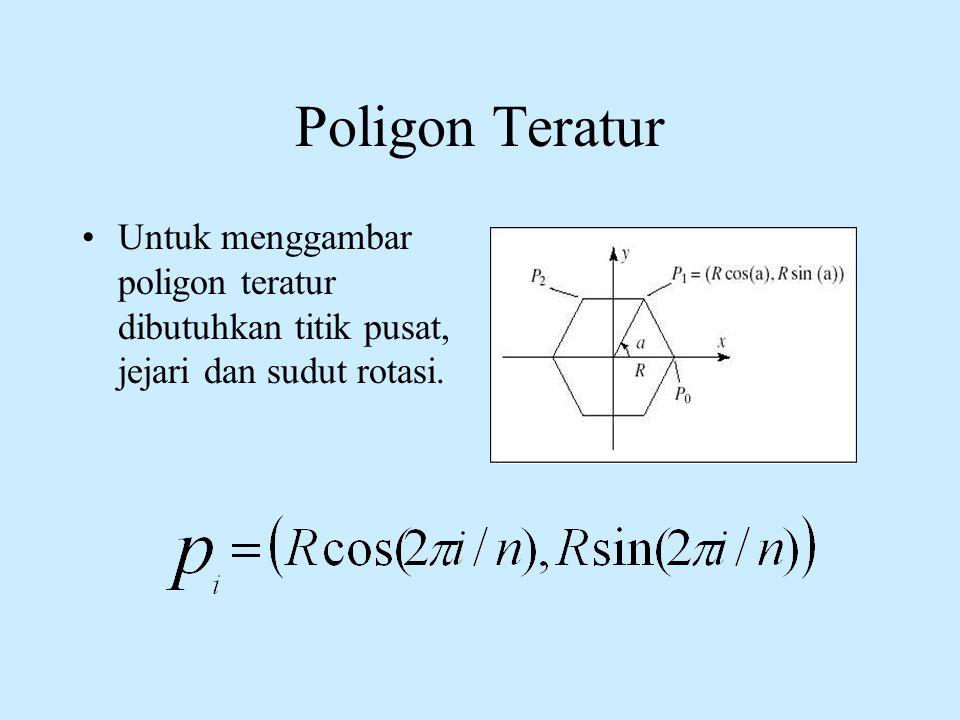 Poligon Teratur Untuk menggambar poligon teratur dibutuhkan titik pusat, jejari dan sudut rotasi.