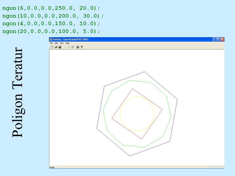 Poligon Teratur ngon(6,0.0,0.0,250.0, 20.0);