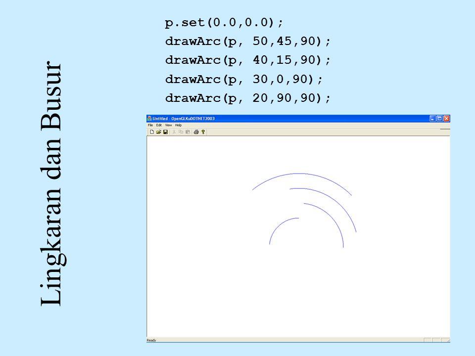 Lingkaran dan Busur p.set(0.0,0.0); drawArc(p, 50,45,90);