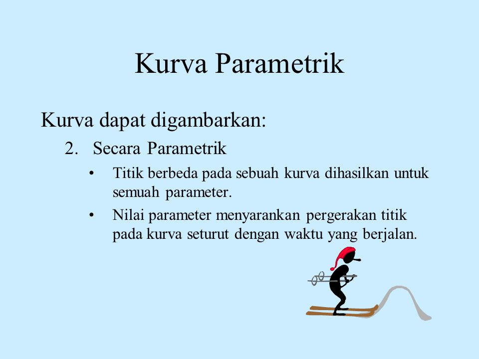 Kurva Parametrik Kurva dapat digambarkan: Secara Parametrik
