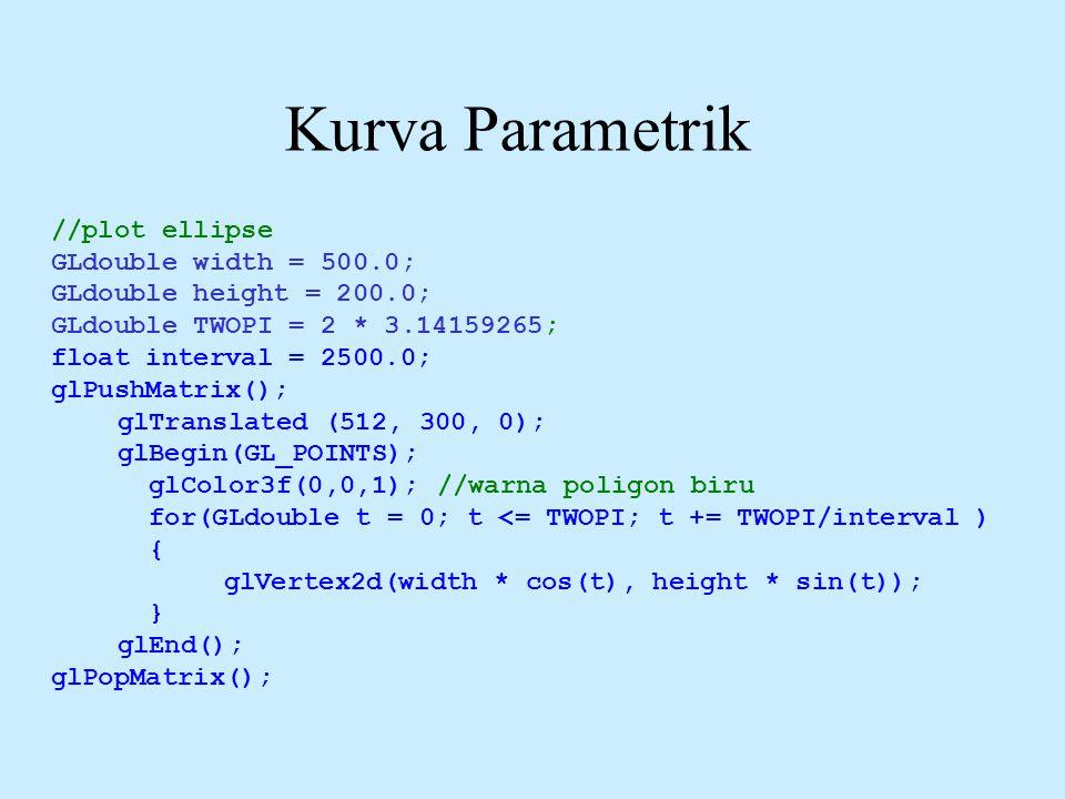 Kurva Parametrik //plot ellipse GLdouble width = 500.0;