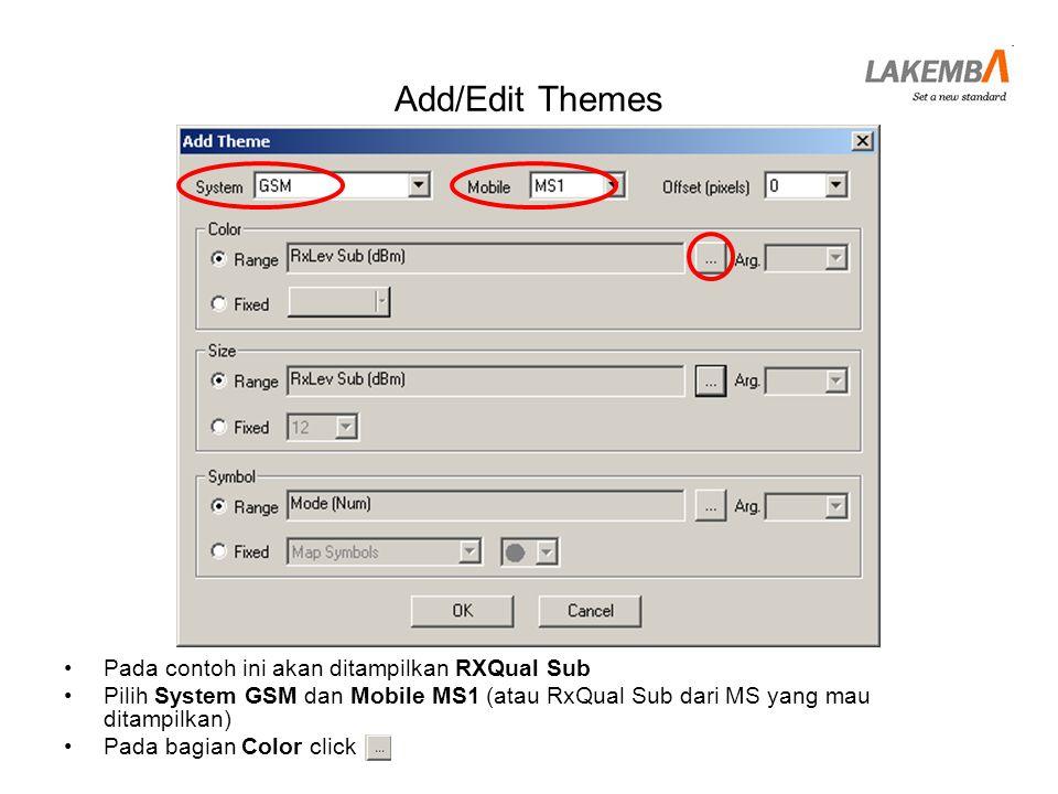 Add/Edit Themes Pada contoh ini akan ditampilkan RXQual Sub