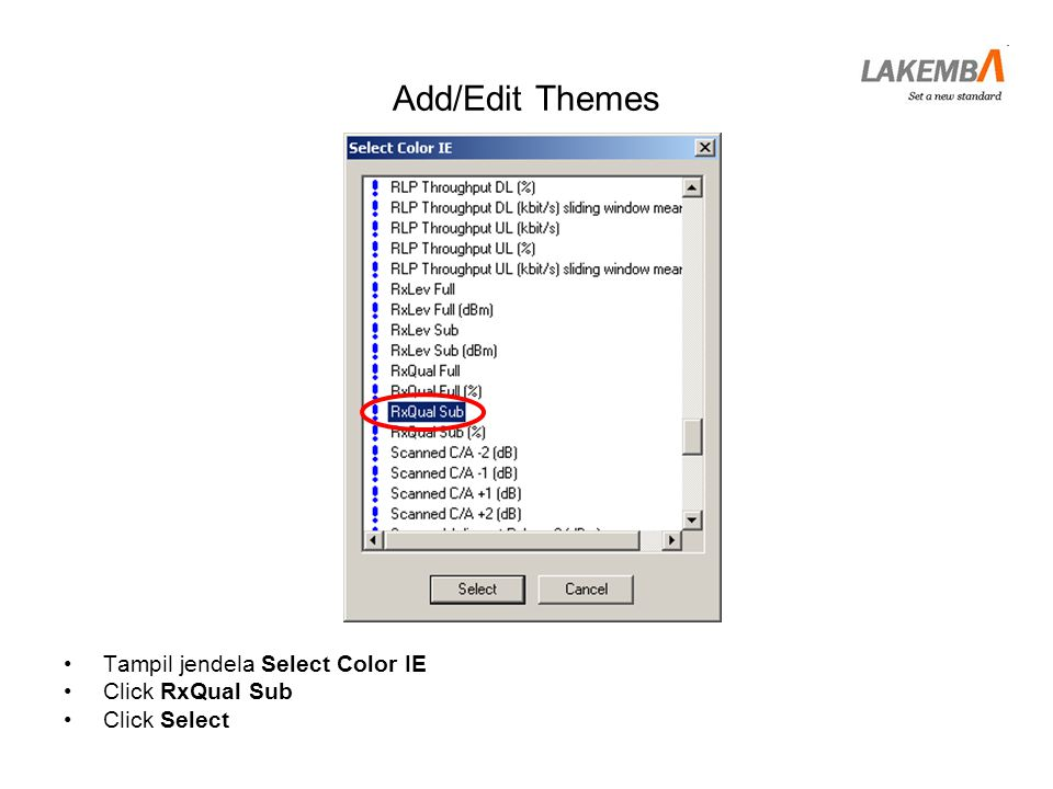 Add/Edit Themes Tampil jendela Select Color IE Click RxQual Sub
