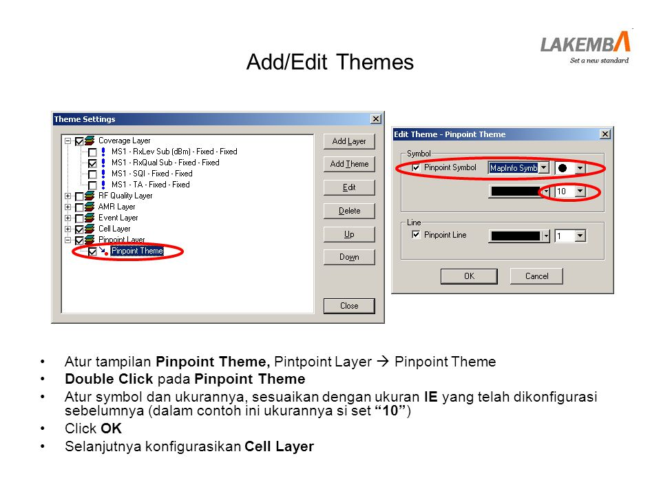 Add/Edit Themes Atur tampilan Pinpoint Theme, Pintpoint Layer  Pinpoint Theme. Double Click pada Pinpoint Theme.