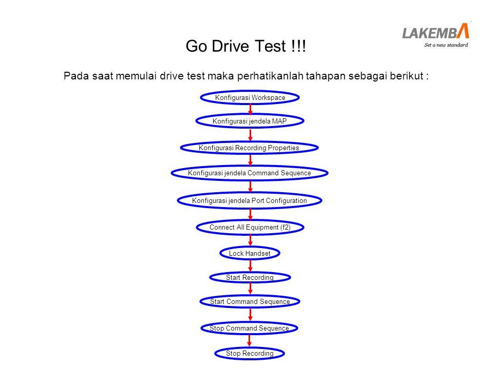 Go Drive Test !!! Pada saat memulai drive test maka perhatikanlah tahapan sebagai berikut : Konfigurasi jendela MAP.