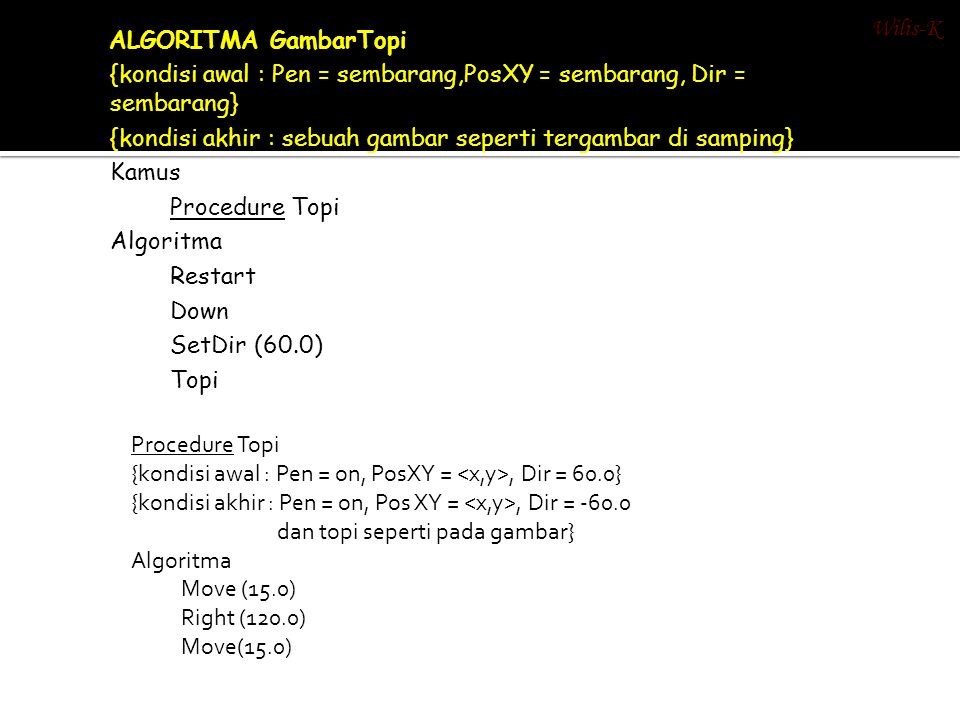 Wilis-K 1. ALGORITMA GambarTopi. {kondisi awal : Pen = sembarang,PosXY = sembarang, Dir = sembarang}